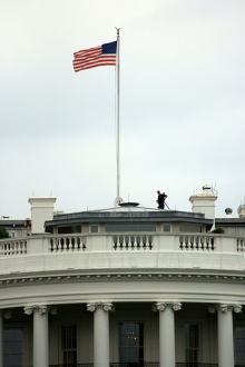 flag and white house